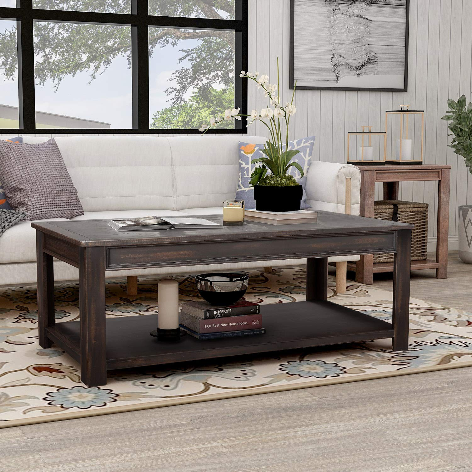 Merax Rectangle Coffee Table Rustic Style Solid Wood+MDF Coffee Table for Living Room with Open Shelf Easy Assembly by Merax