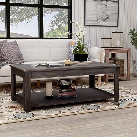 Amazon.com: Merax - Mesa de centro rectangular de madera ...