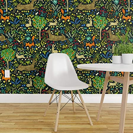 Removable Wallpaper Peel and Stick Wallpaper Self Adhesive Wallpaper Cute Woodland Animals