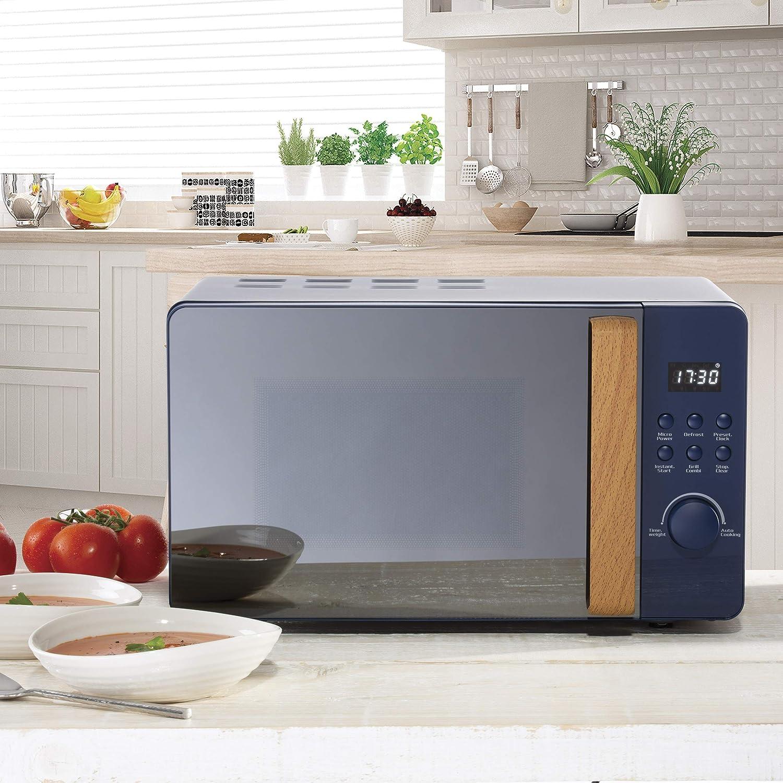 Skandik 20L Digital Microwave Oven | 5 Power Settings | Defrost & Cancel Control | 245mm Turntable Glass Tray | Digital Timer | Beep Indicator | 800W/220-240V/50Hz - Black Navy