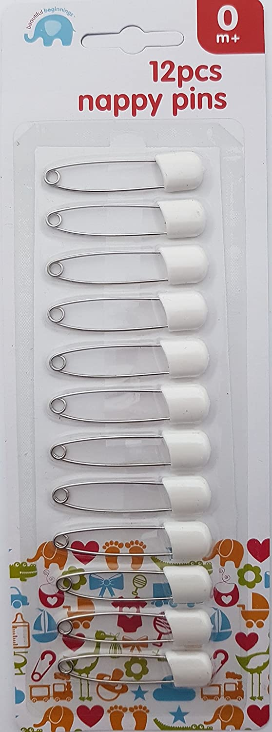 Pack of 12 White Beautiful Beginnings Nappy Pins Safety Lock Diaper Pins