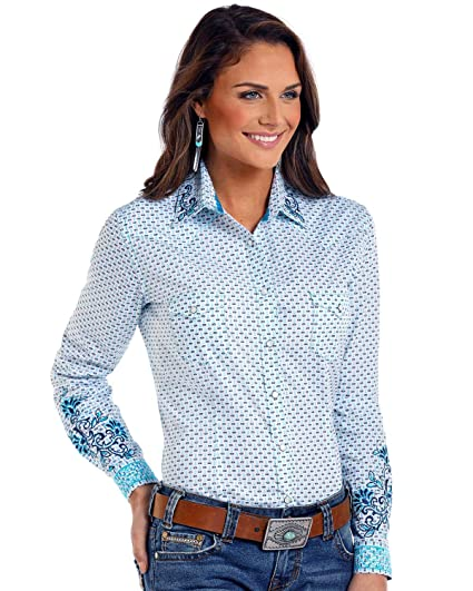 441be6b6 Panhandle Women's Rough Stock by Comal Vintage Print Long Sleeve Western  Shirt Multi XX-Large