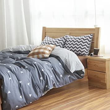 MZPRIDE Gray Triangle Beding Set Gray Striped Duvet Covers Boys Bed Linen  Full