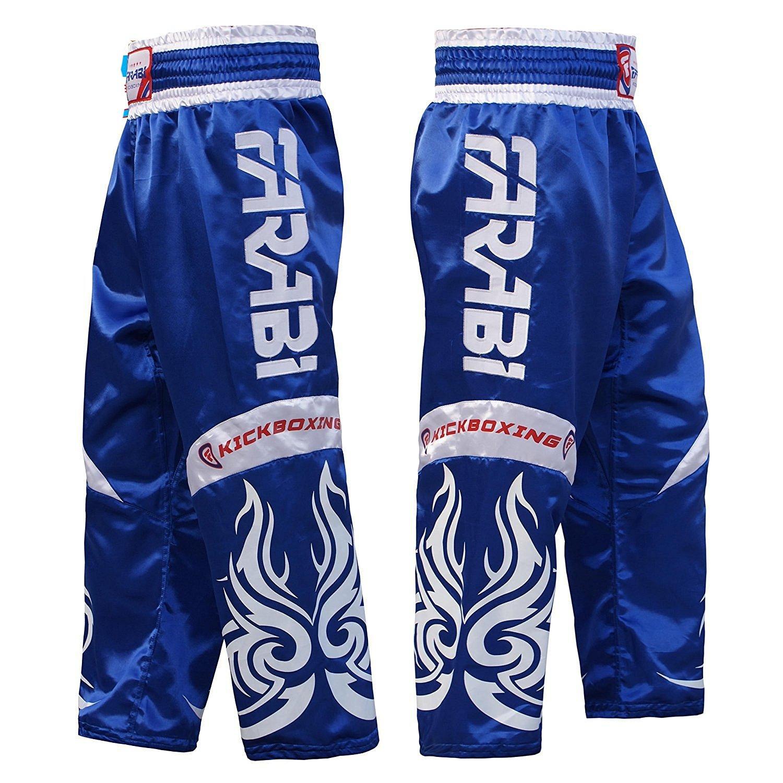 Farabi Kickboxing Trousers Pants Mix Martial Arts Full Contact Blue Red Black Adult /& Kids Sizes