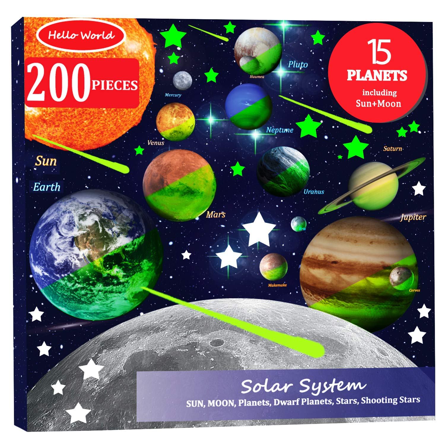 200pcs Glow in The Dark Stars and Planets Wall Stickers, Bright Solar System Wall Stickers, All Glowing Planets Dwarf Pluto Moon Sun 173 stars, 12 shooting stars, Ceiling Wall Decals Kids Bedroom