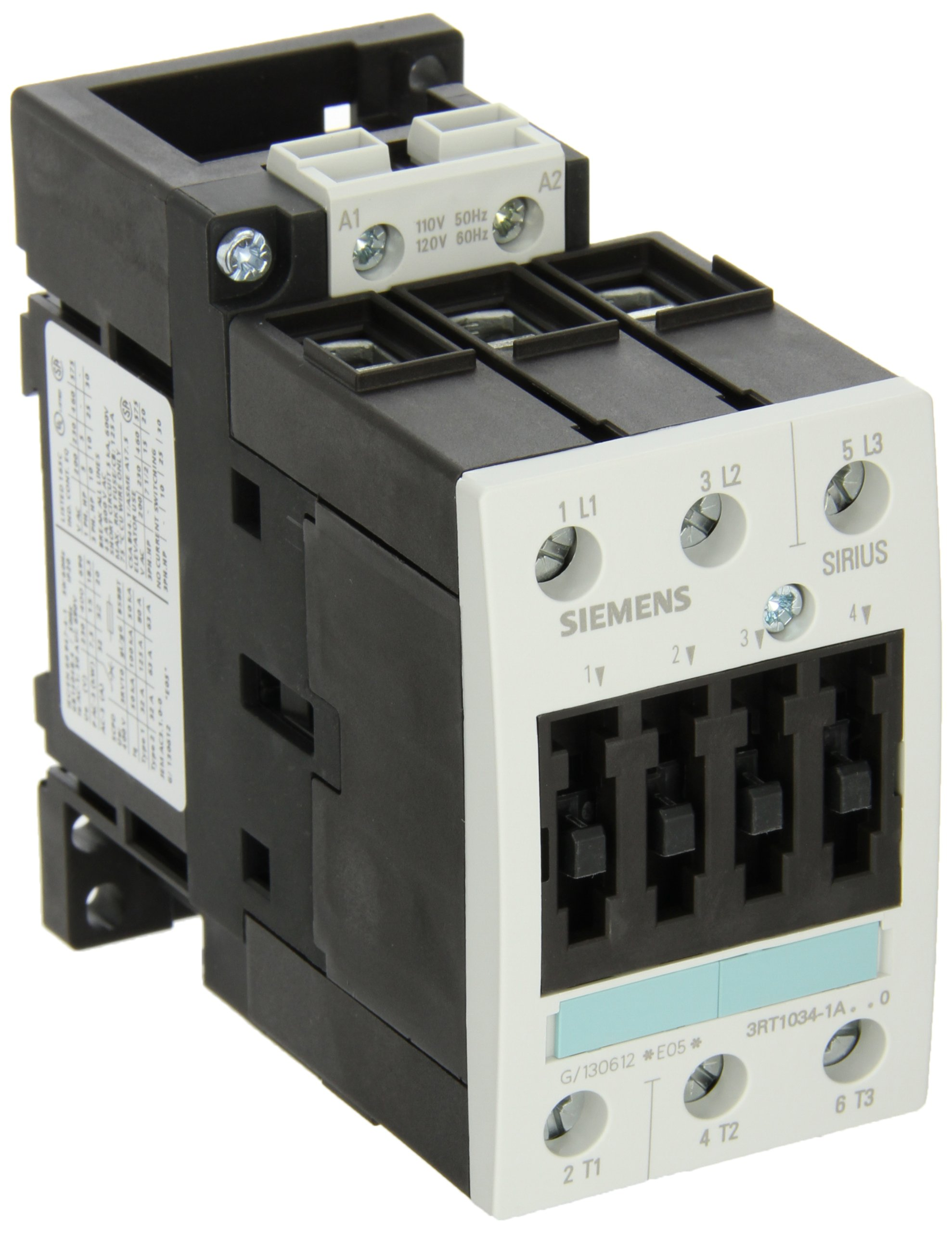 Siemens 3RT10 34-1AK60 Motor Contactor, 3 Poles, Screw Terminals, S2 Frame Size, 120V at 60Hz and 110V at 50Hz AC Coil Voltage Voltage by SIEMENS (Image #1)