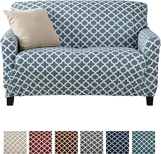 Strapless Love Seat Cover for Living Room Home Fashion Designs Printed Twill Love Seat Slipcover Love Seat, Smoke Blue Brenna Collection Slipcover./  One Piece Stretch Loveseat Cover