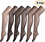 FEPITO 6 Pairs Fishnets Stockings High Tights Mesh Stockings Pantyhose for Women, Black