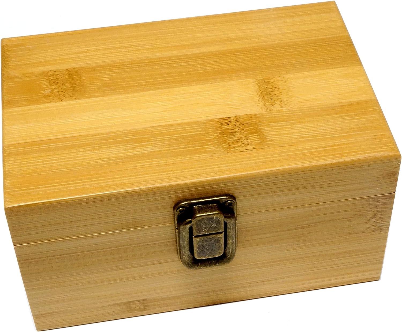 Cali Factory Natural Classic Bamboo Medium Size Sacred Geometry Stash Box with Latch - Storage Organizer