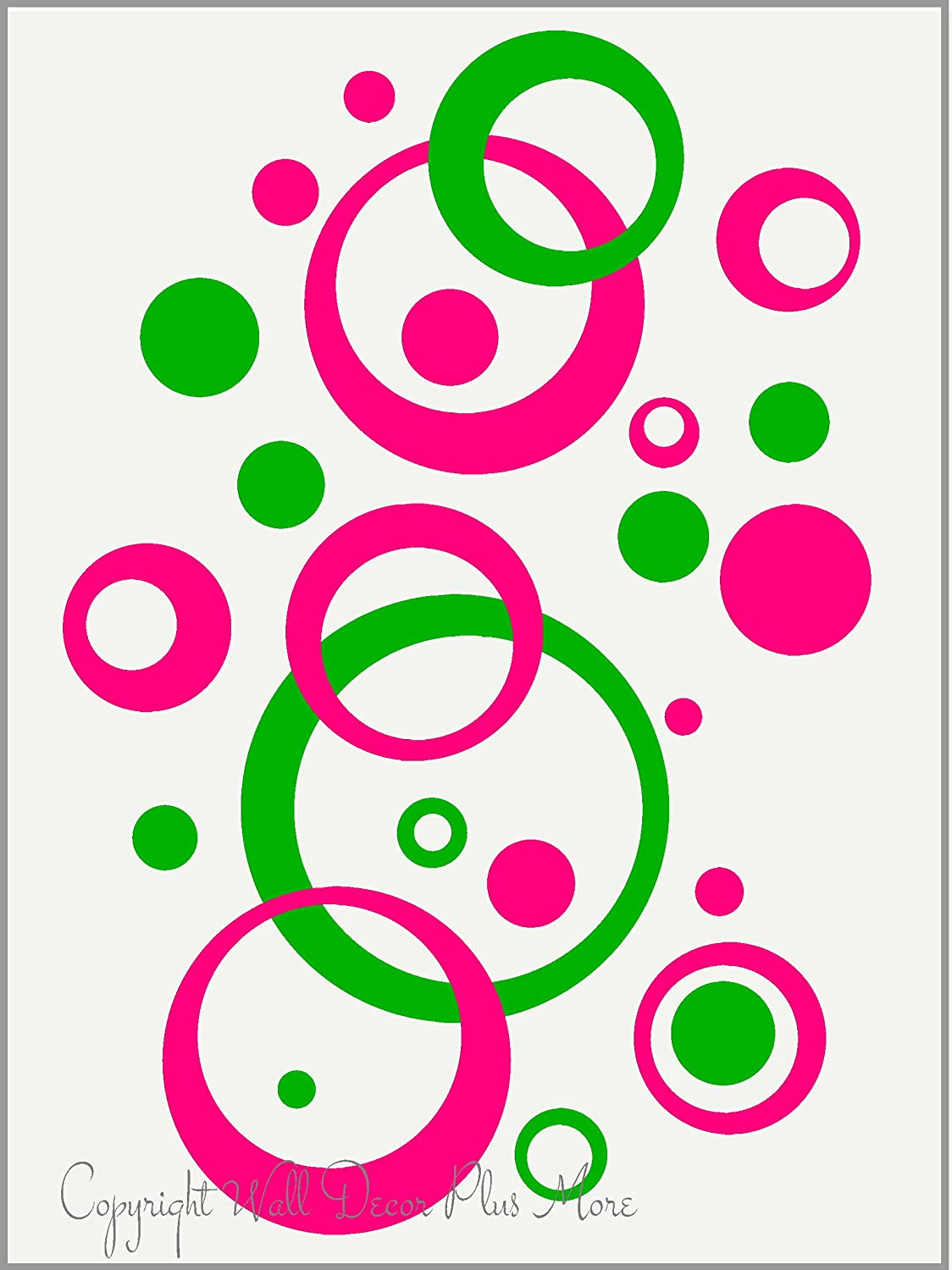 Amazon.com: Hot Pink & Lime Green Wall Circle Bubble Stickers Rings ...