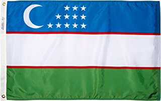 product image for Annin Flagmakers Model 974061 Uzbekistan Flag Nylon SolarGuard NYL-Glo, 2x3 ft, 100% Made in USA to Official United Nations Design Specifications