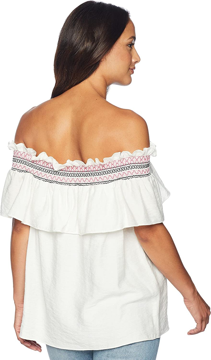 44caec35504c6 CeCe Womens Off The Shoulder Ruffled Top with RIC Rac Trim at Amazon  Women s Clothing store