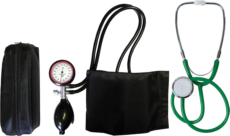 Tensiómetro electrónico de brazo de 2Manguera + estetoscopio verde de cabeza plana (1Set = 2Artículo) Hermana nstetoskop stetoskop stetoskope Tiga de Med
