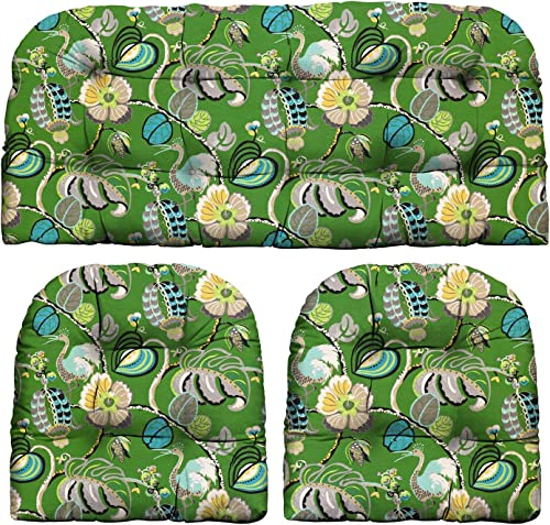 RSH D cor Indoor Outdoor Green Prints – 3 Pc Tufted Wicker Cushion Set 1 Loveseat 2 U-Shape-Choose Color Size Tropical Fete Gras Green Floral, LS 44 x22 US 21 x21
