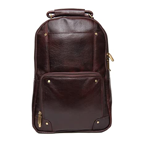 C Comfort Men's and Women's 18-inch Leather Backpack (Brown) Casual Daypacks at amazon