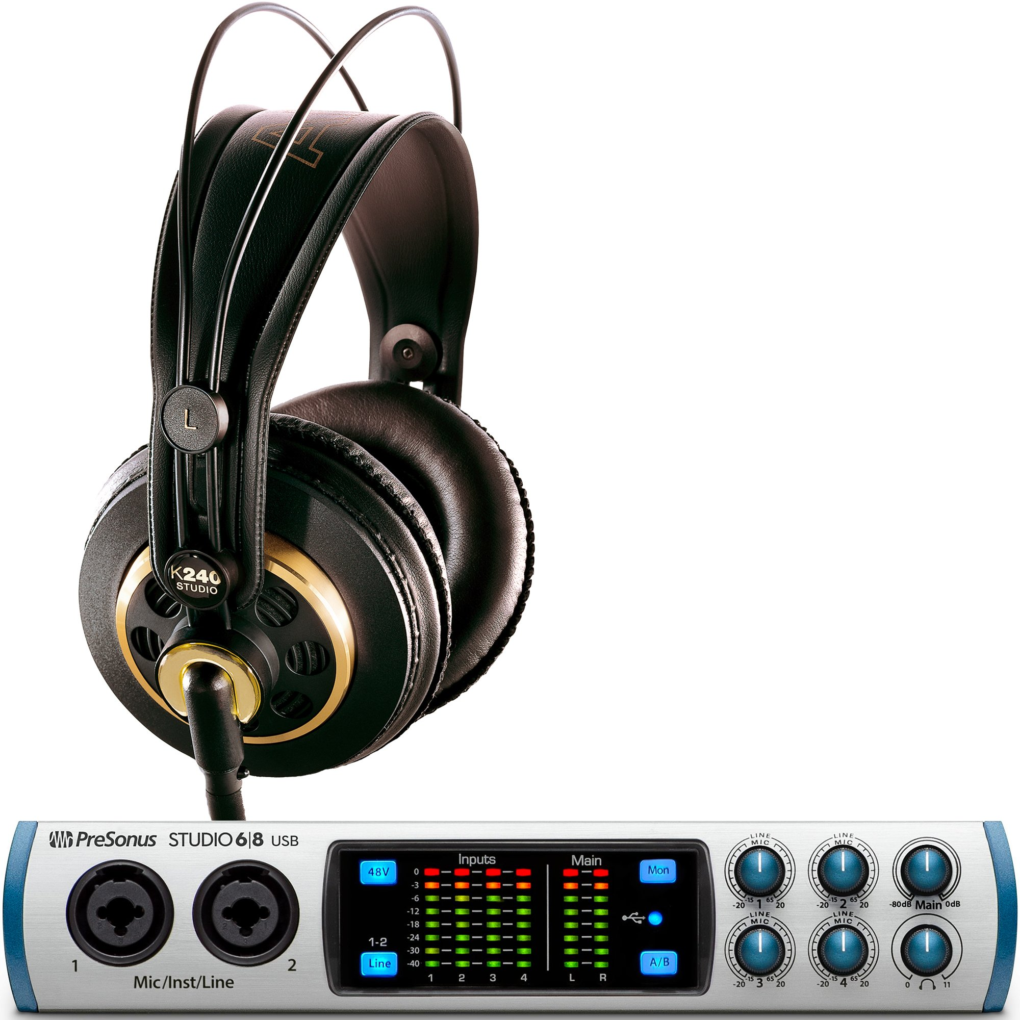 Presonus Studio 68 Audio Interface with AKG K240 Studio Headphones