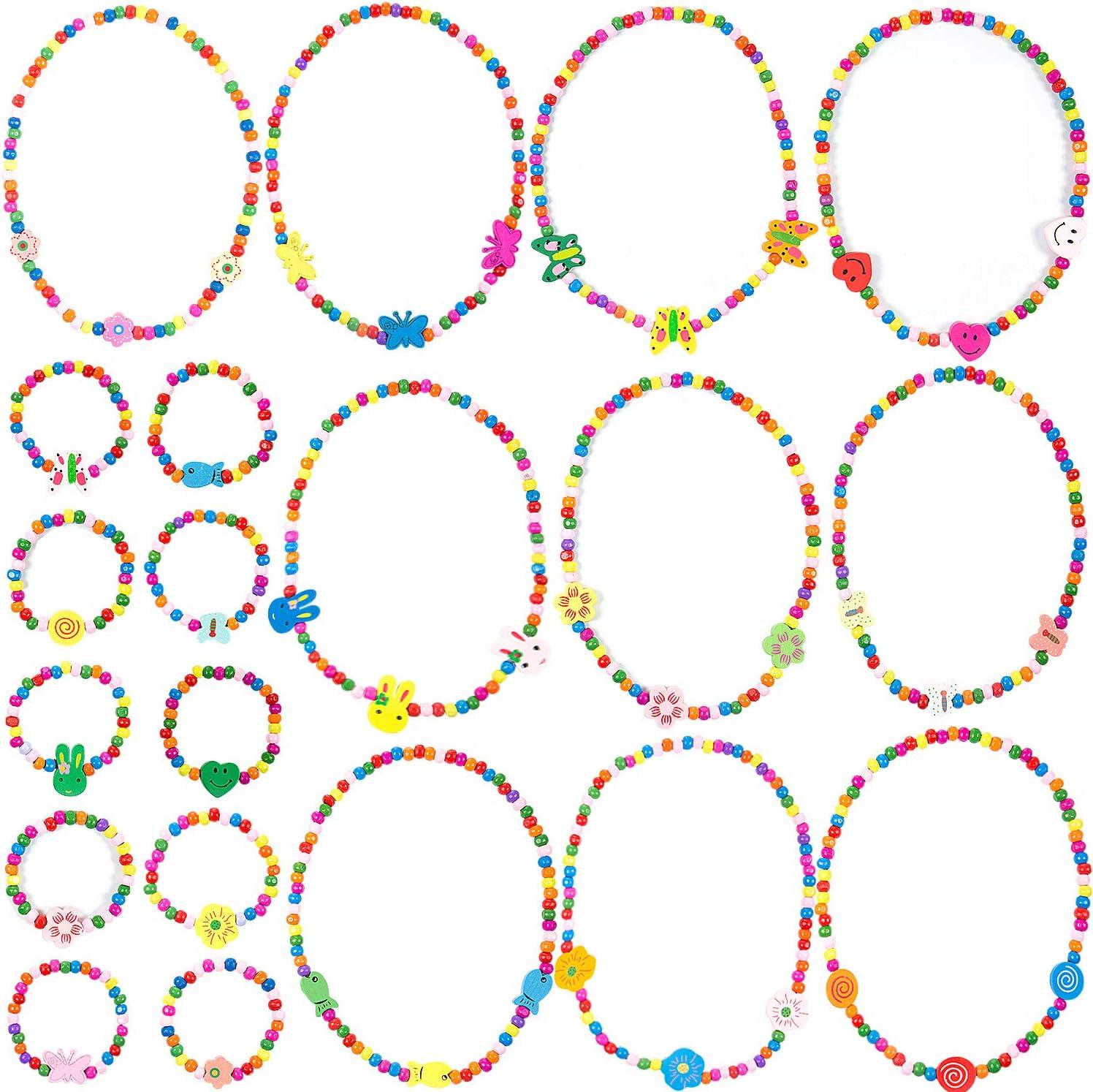 MOOKLIN ROAM 20 Piezas Princesa Joyería para Niños Niñas, Conjunto de Collares Flor Mariposa Pulseras Elasticas con 10 Estilos para Viste a la Niña Favor de Fiesta Joyas Cosplay Disfraz, Juego de 10
