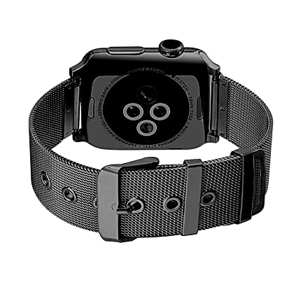 GEOTEL Milanese Loop(2.0 Version) Stainless Steel Bracelet Strap Band for Apple Watch Series 2 Apple Watch Series 1 Apple Watch Sport Apple Watch Edition with Classic Buckle (42MM-BLACK)