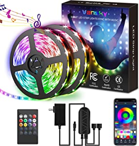 Led Strip Lights for Bedroom 32.8ft, LED Light Strip RGB LED Lights 300LEDs Sync to Music Color Changing Rope Lights with APP Controller for Aesthetic Bedroom Decor Party
