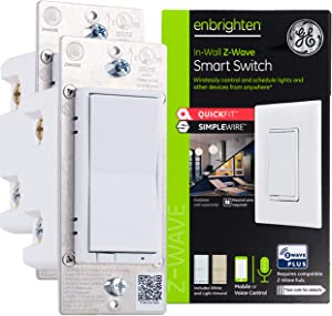 GE Enbrighten Z-Wave Plus Smart Light Switch 2-pack with QuickFit & SimpleWire, 3-Way Ready, Works with Alexa, Google Assistant, ZWave Hub Required, Repeater/Range Extender, White/Light Almond, 47900