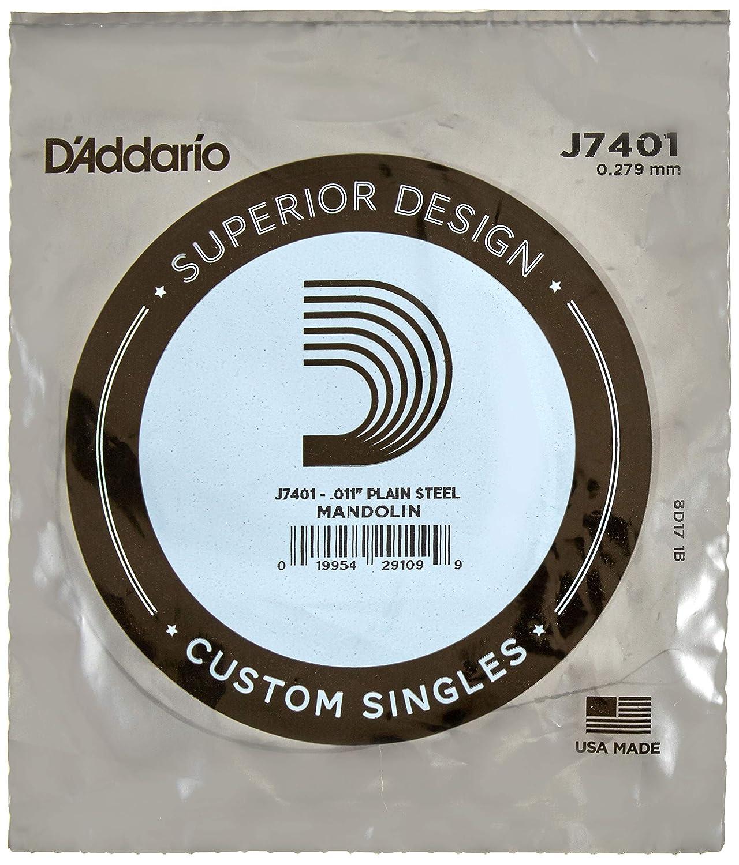 D'Addario J7401Plain Steel Mandolin Single String, First String, .011 D'Addario