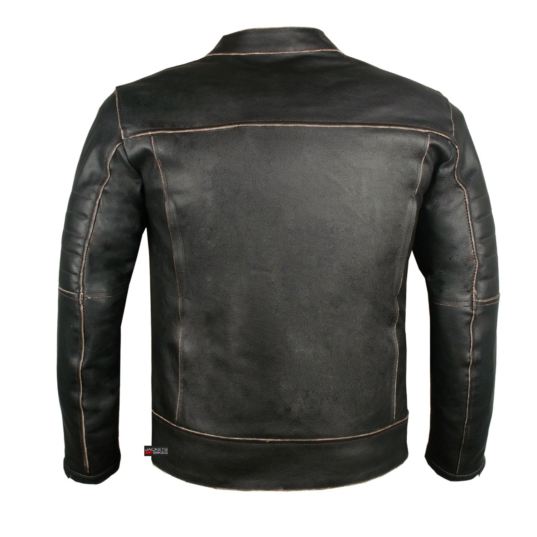 Mens Vintage Motorcycle Cruiser Armor Ventilated Leather Touring Biker Jacket