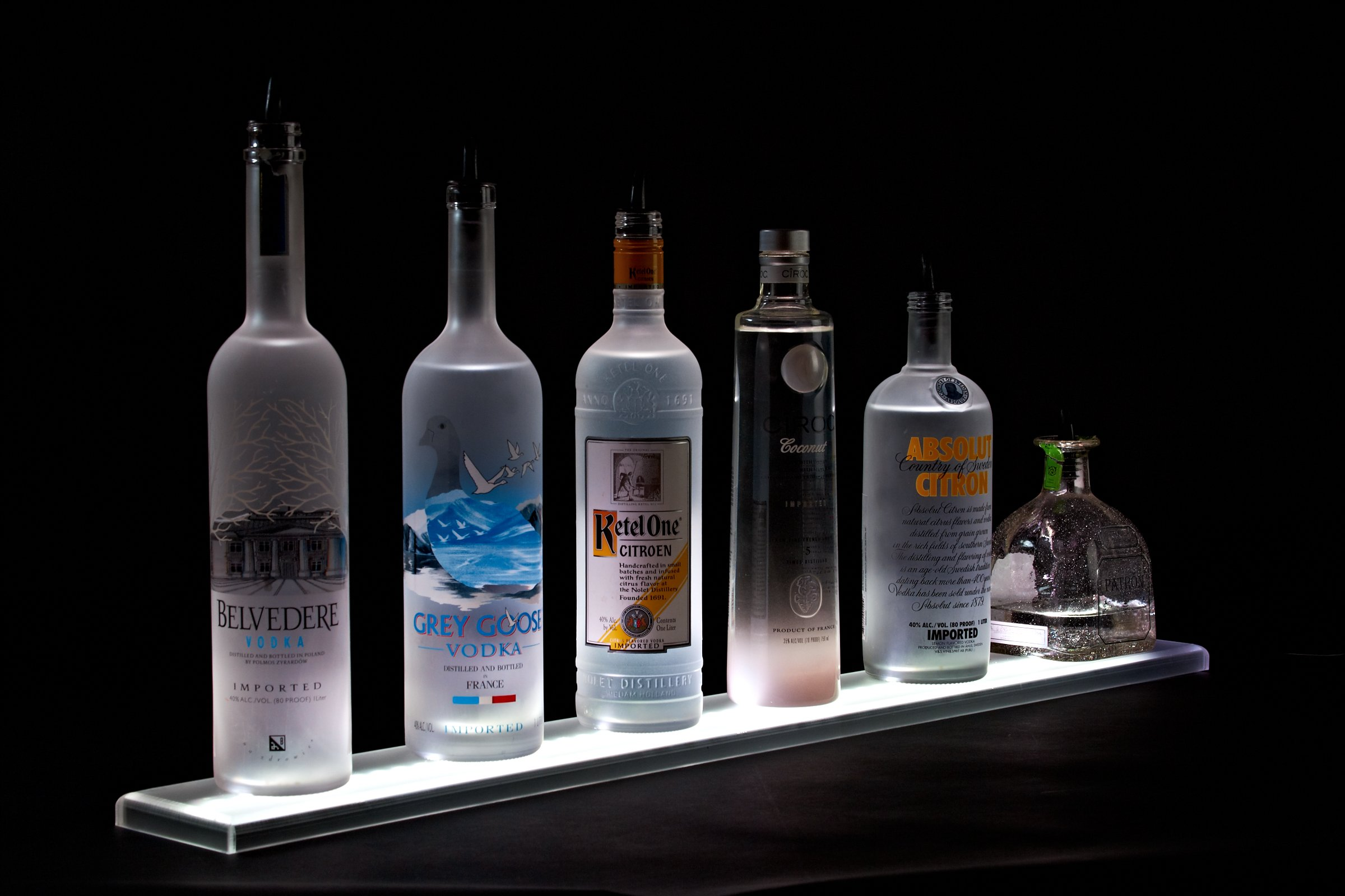 LED Liquor Shelf and Bottle Display (3 ft Length) - Programmable Shelving Includes Wall Mount Brackets, Wireless Remote, and Power Supply - COMFORTABLY HOLDS 7 - 9 BOTTLES by Armana Productions