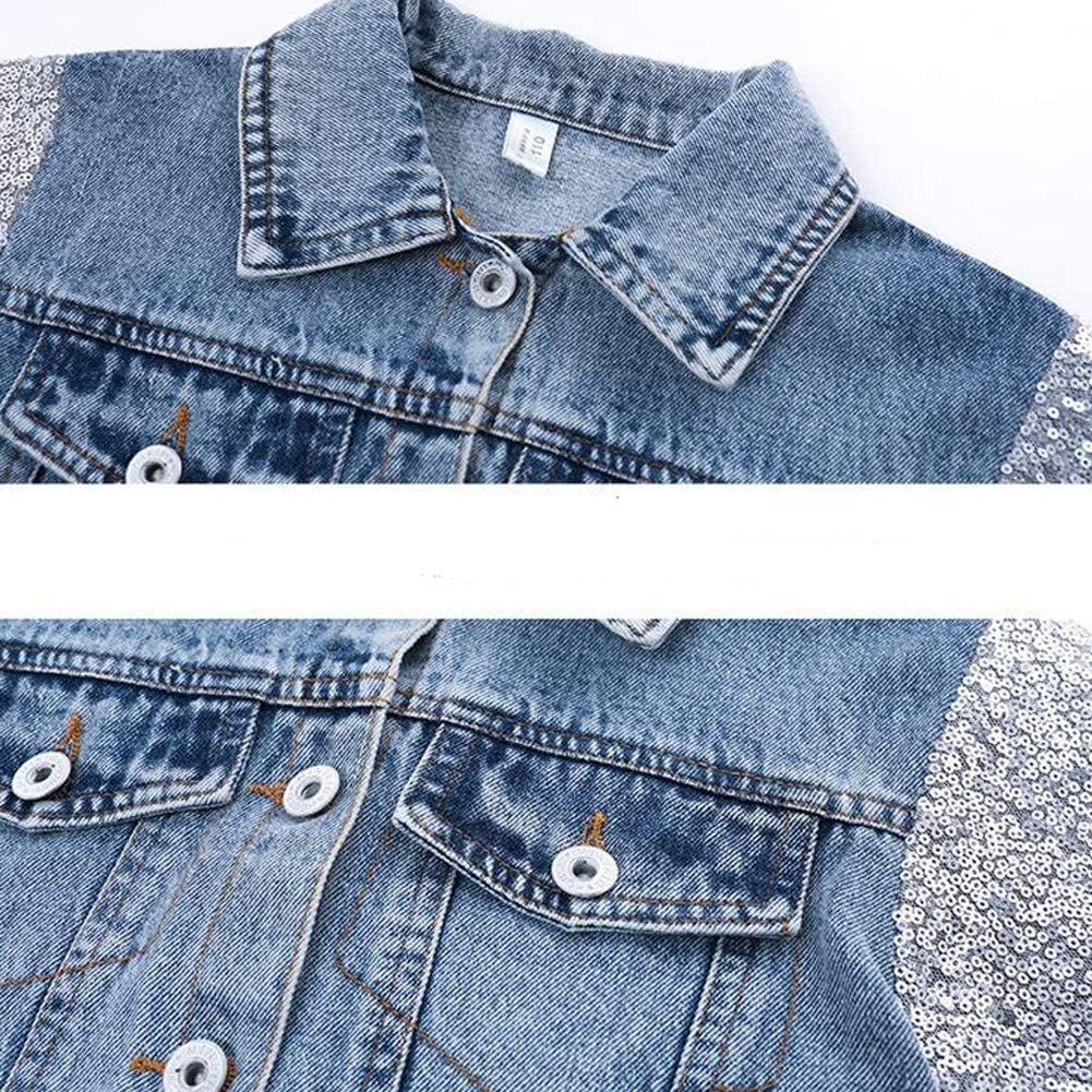 Zooarts Girls Denim Unicorn Jacket Sequin Coat Teens Girls Jackets Children