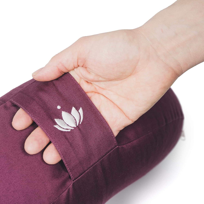 Lotuscrafts Cojin Yoga Meditation Media Luna Shanti - Relleno de Espelta - Cubierta en Algodon Lavable- Cojin Yoga Zafu - Cojin Suelo Media Luna - ...