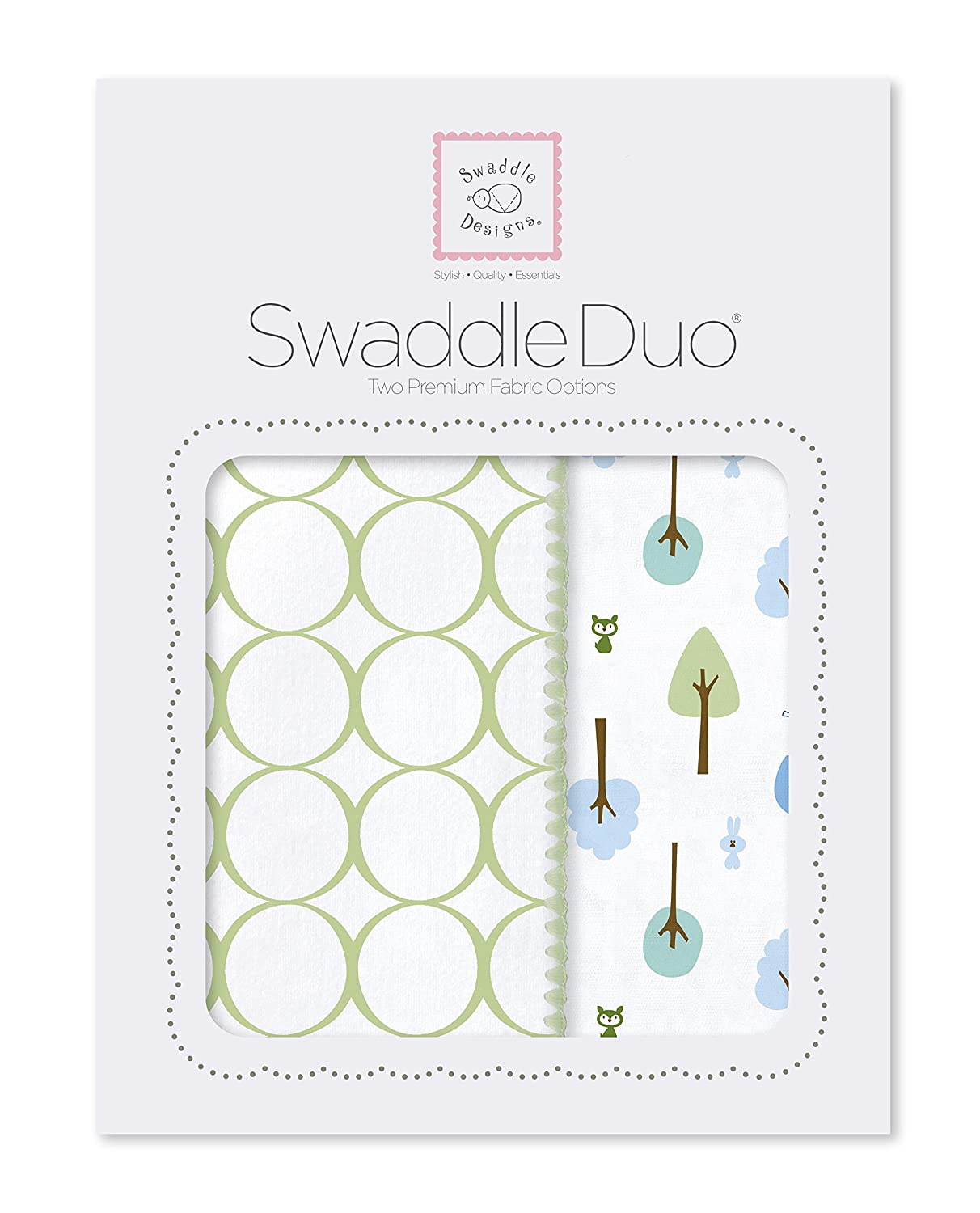 SwaddleDesigns SwaddleDuo Cotton Marquisette Pastel Pink Cute and Calm Duo SD-184PP Set of 2 Swaddling Blankets Premium Cotton Flannel