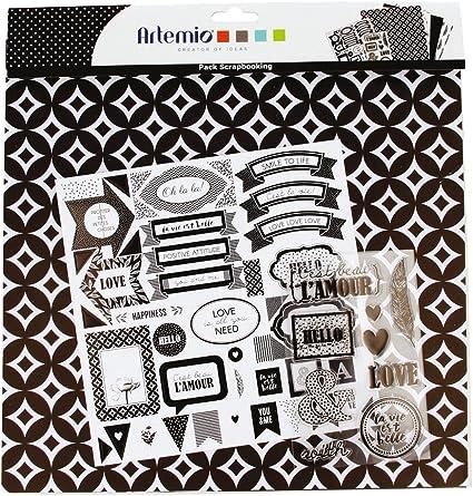Kit Pack Scrapbooking Black & White Hojas de Papel Pegatinas y ...
