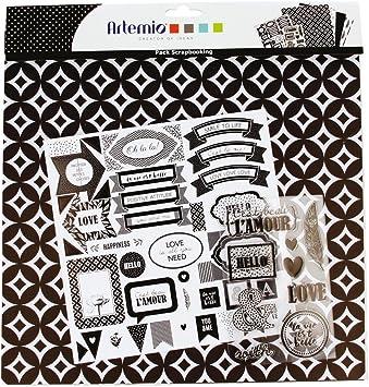 Kit Pack Scrapbooking Black & White Hojas de Papel Pegatinas y Sellos: Amazon.es: Juguetes y juegos