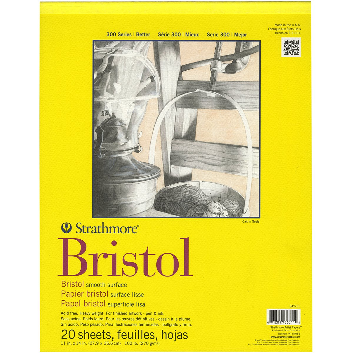 Strathmore 300 Series Bristol Smooth Pad, 11''x14'' Tape Bound, 20 Sheets by Strathmore