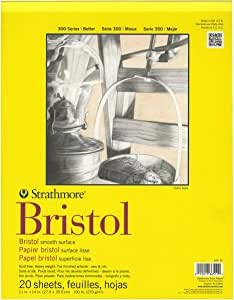 "Strathmore 300 Series Bristol Smooth Pad, 11""x14"" Tape Bound, 20 Sheets"