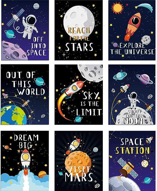 Amazon.com: Blulu - 9 pósteres espaciales para decoración de ...