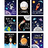 Blulu 9 Pieces Outer Space Décor Kids Nursery Bedroom Space Posters Decor, 8 x 10 Inch, Cute Inspirational Wall Art…