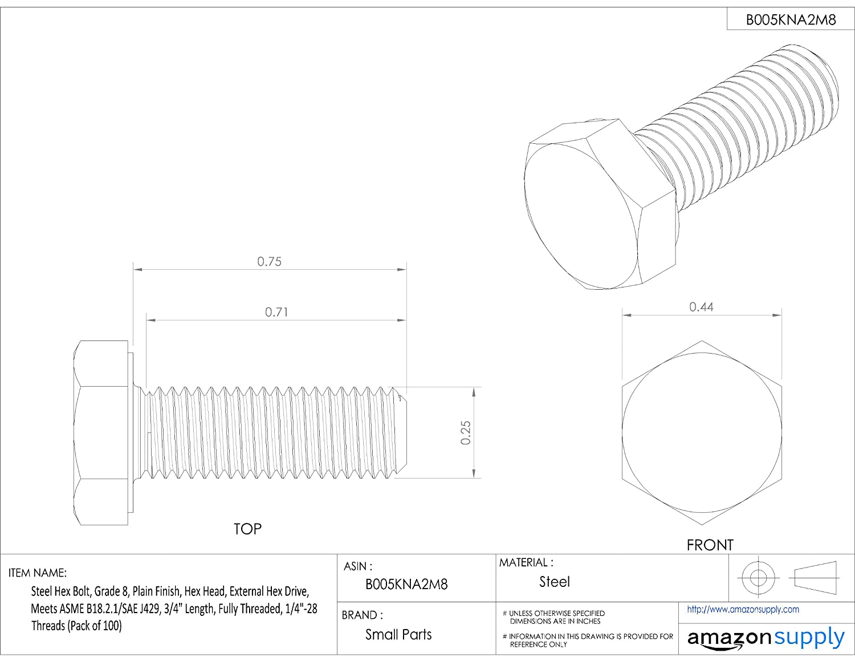 3//8-16 Threads 4 Length Plain Finish Pack of 10 Grade 8 Hex Head Partially Threaded Meets ASME B18.2.1//SAE J429 External Hex Drive Steel Hex Bolt