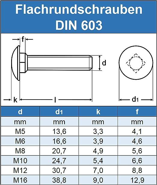 ISO 8677 Flachrundkopf Schrauben Flachrundschrauben mit Vierkantansatz M8 x 60 mm rostfrei Eisenwaren2000 Vollgewinde Edelstahl A2 - Schlossschrauben DIN 603 Gewindeschrauben 30 St/ück