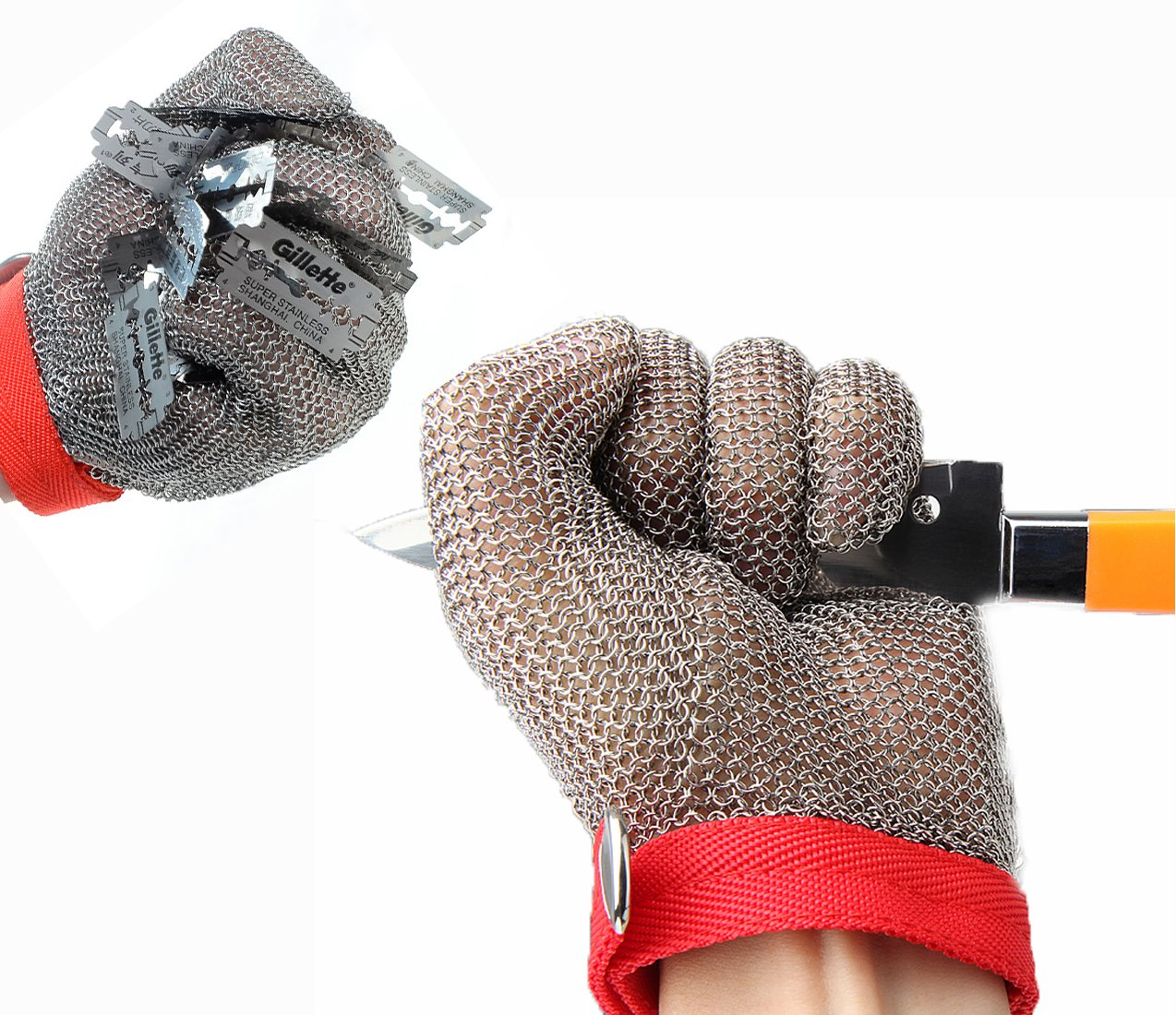 304L Stainless Steel Cut Resistant Gloves with Secure-Grip Steel Chain Mail Mesh and Level 5 Cut Protection Kitchen Food Grade Gloves Kitchen Butcher Working Safety Glove 1 Pcs (XL)