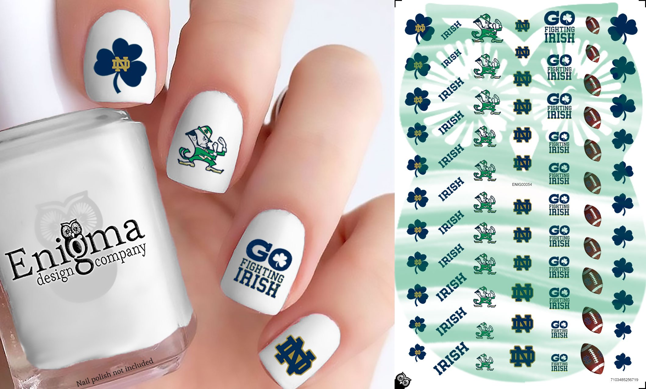 Amazon.com  Notre Dame Fighting Irish Accessories (Clear Water-Slide Nail  Decals)  Beauty e91eb1b24ba1