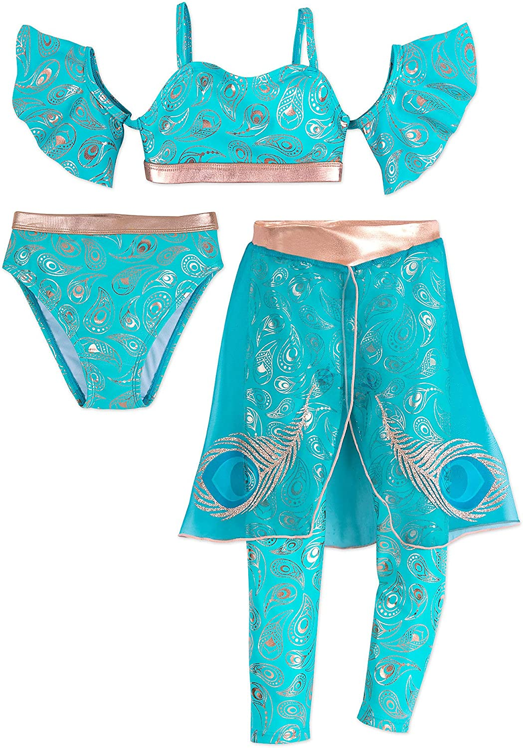 Disney Store Aladdin Jasmine Deluxe Swimsuit Costume Collection 3 Pc Live Action