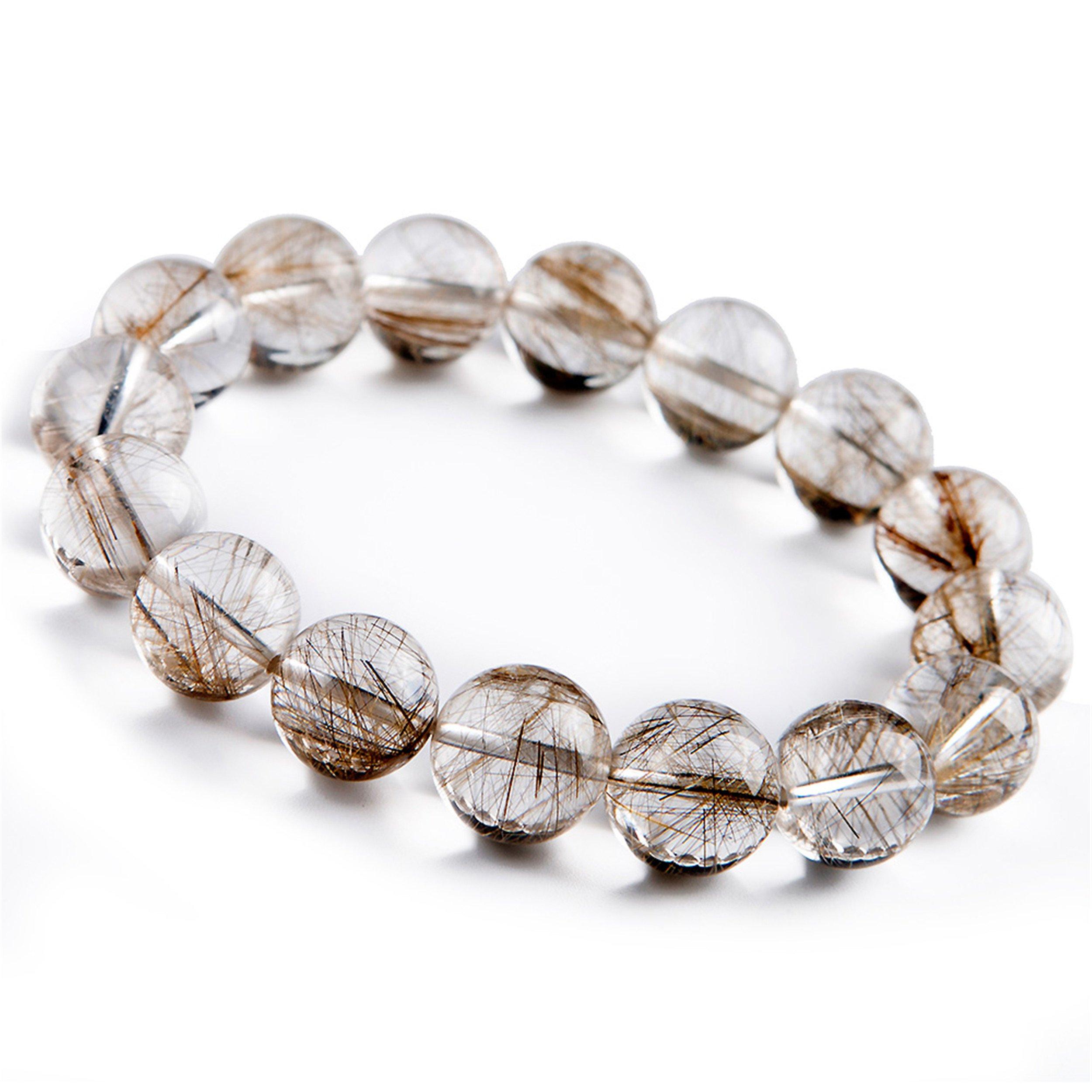 Genuine Natural Silver Rutilated Quartz Crystal Round Bead Stretch Bracelet 13mm