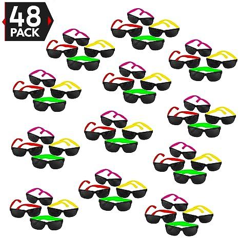 70cb8a262b Amazon.com  48 Pack 80 s Style Neon Party Sunglasses - Fun Gift ...