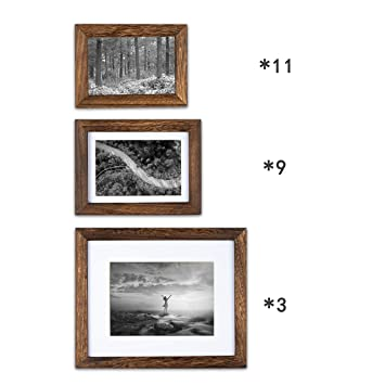 Two 18X33.2Cm Two 16.1X21.2Cm Two 17.5X22.6Cm,White Gallery Wall Picture Frames Set Kit- 13 Frames- Solid Wood- Glass Window-Seven 12X15.9Cm