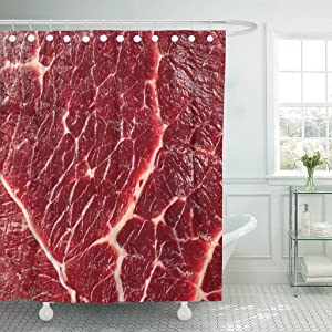 Emvency Fabric Shower Curtain Curtains with Hooks Red Beef of Meat Raw Food Meal Steak 60