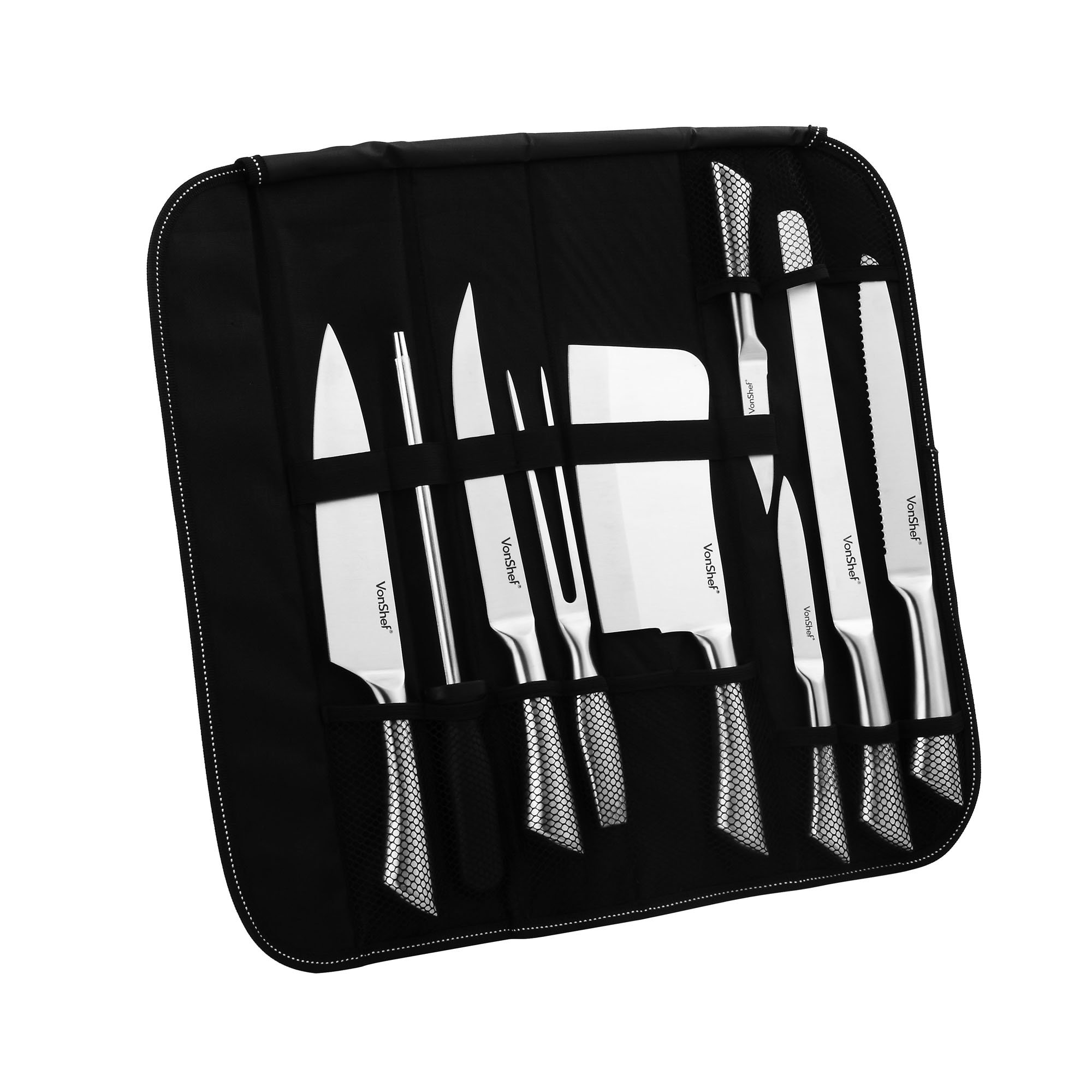 VonShef 9 Piece Assorted Kitchen Knife Carry Wrap Set With Zip Up Carry Case - Stainless Steel, Black by VonShef