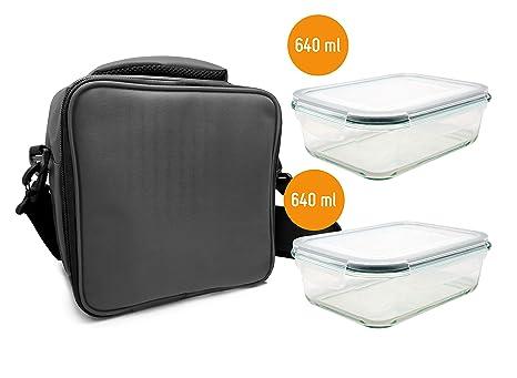 NERTHUS Lunch Bag Gris + 2 Rec. Herméticos Cristal, Tuppers Fiambrera Bolsa termica Porta Alimentos individual Gris, Única