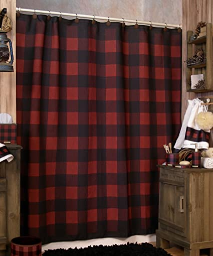 Woolrich Buffalo Check Shower Curtain COLOR AS SHOWN Black
