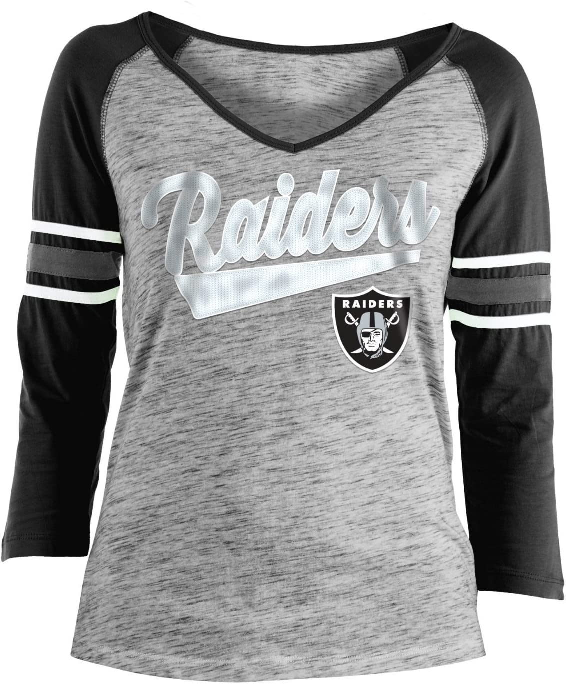 NFL Oakland Raiders Ultra Game Mens LS POLY CREW NECK TEE Heather Gray Small