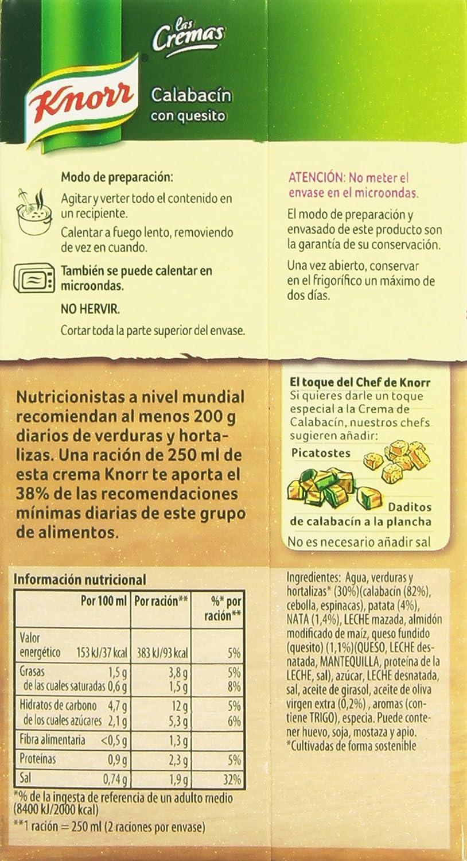 Knorr - Crema Calabacín Con Quesito, 500 ml - [pack de 4 ...